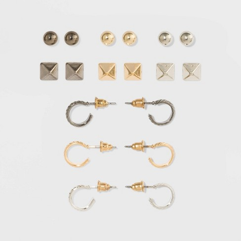 Faceted Square, Ball and Open Hoop Multi Earring Set 9ct - Wild Fable™ - image 1 of 2