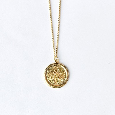 Sanctuary Project Round Rosette Medallion Coin Necklace Gold