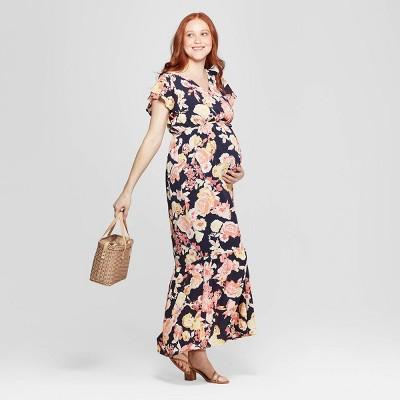 Maternity Floral Print Flutter Short Sleeve Maxi Dress Isabel Maternity By Ingrid Isabel Navy S Target Inventory Checker Brickseek