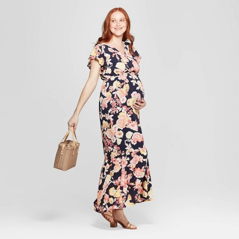 8b3241fb09b3 Maternity Floral Print Flutter Sleeve Maxi Dress - Isabel Maternity ...