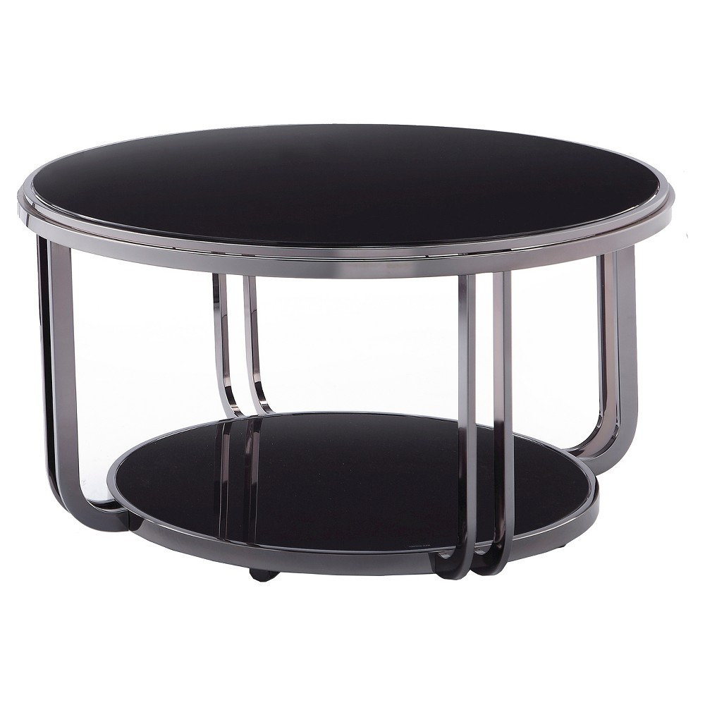 Concord Black Glass Top Round Coffee Table - Black - Inspire Q