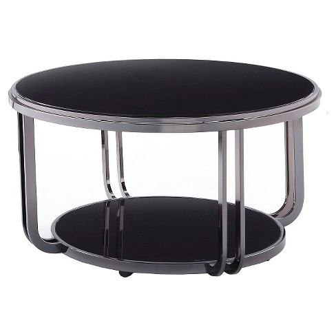 Concord Black Glass Top Round Coffee Table Black Inspire Q Target