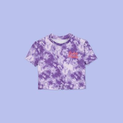 Girls' Short Sleeve Tie-Dye Rash Guard Swim Shirt - More Than Magic™ Purple