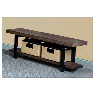 """48"""" Pomona Solid Wood and Metal Entryway Bench Brown - Alaterre Furniture"""