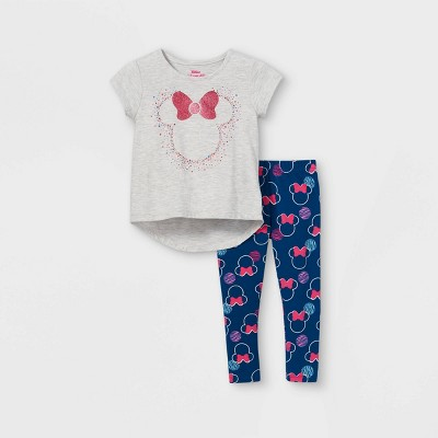 Toddler Girls' Minnie Mouse Short Sleeve Top and Bottom Set - Navy