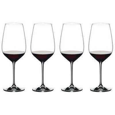 Riedel 28.22 Ounce Extreme Cabernet Clear Crystal Red Wine Glass Set for Full Bodied Complex Red Wines with Angular Bowl, Set of 4