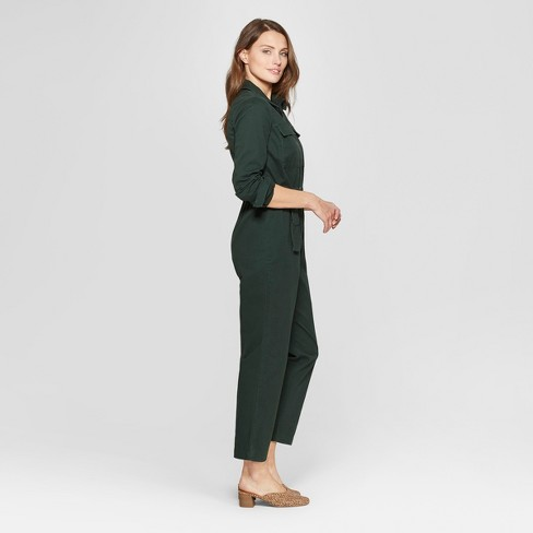 a659e95842b Women s Long Sleeve Structured Jumpsuit - Universal Thread™ Green L   Target