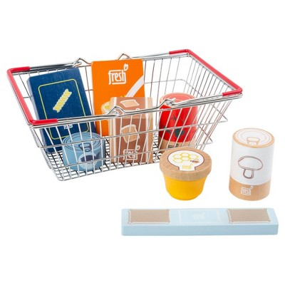 Small Foot Wooden Toys Grocery Shopping Basket Playset - 9pc