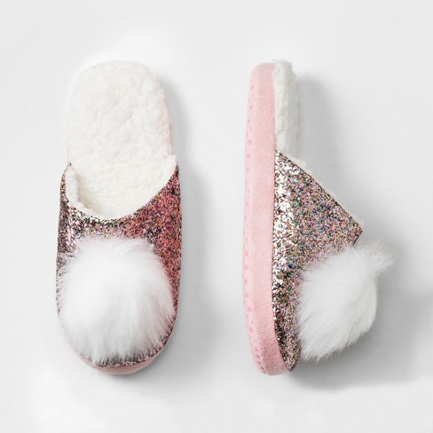 91dc0a6ac3b1 Girls' Glitter Slide With Pom Slippers - Cat & Jack™ Pink : Target