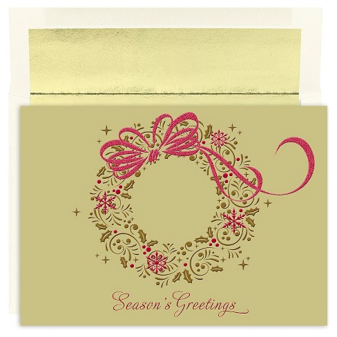 16ct Season's Greetings Wreath Holiday Boxed Cards - image 1 of 1