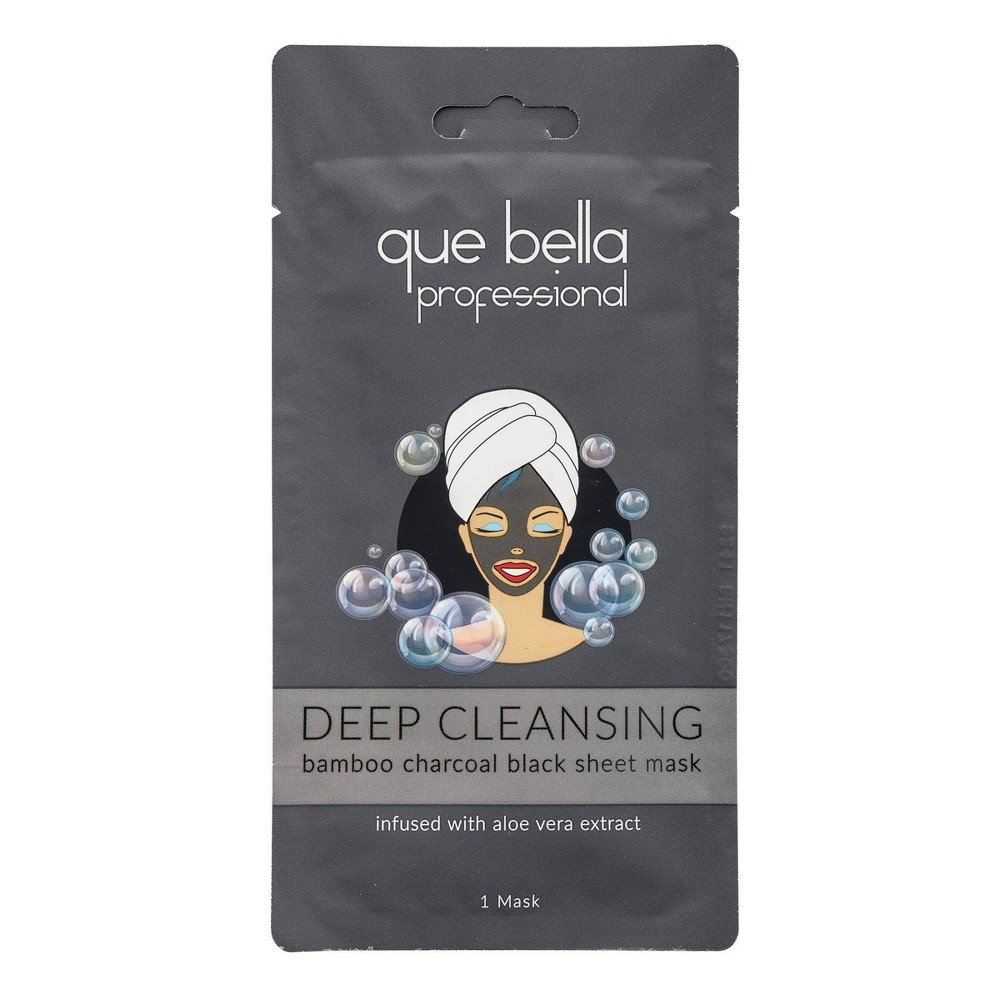 Image of Que Bella Professional Cleansing Charcoal Black Sheet Mask - 0.5oz