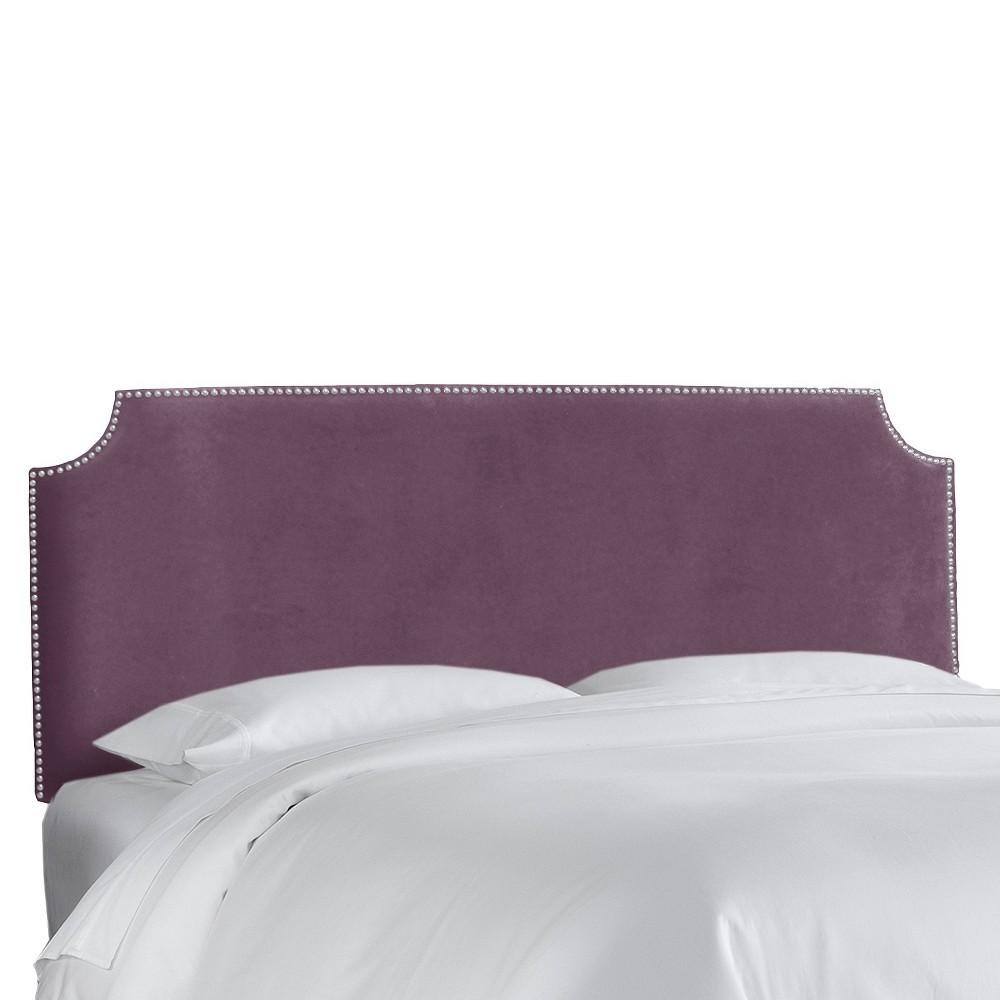 Twin Lombard Nail Button Notched Headboard Purple Microfiber - Skyline Furniture