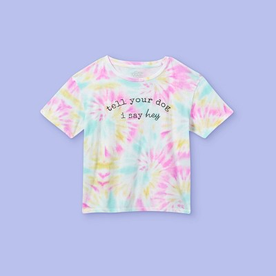 Girls' 'Tell Your Dog I Say Hey' Tie-Dye Short Sleeve Graphic T-Shirt - More Than Magic™