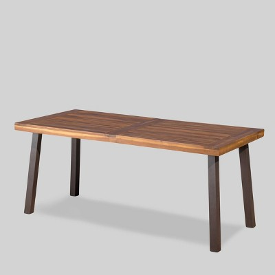Della Rectangle Acacia Wood Dining Table - Teak Finish - Christopher Knight Home