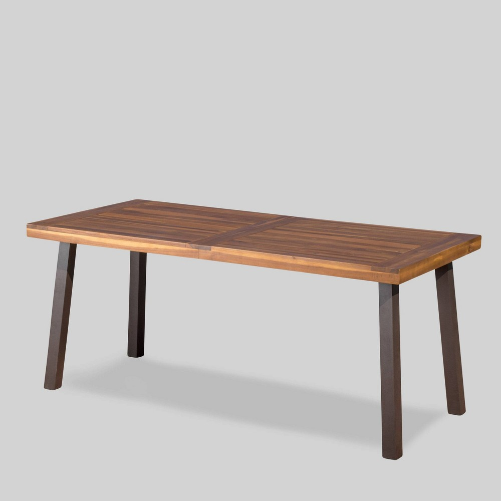 Della Rectangle Acacia Wood Dining Table - Teak Finish - Christopher Knight Home, Brown