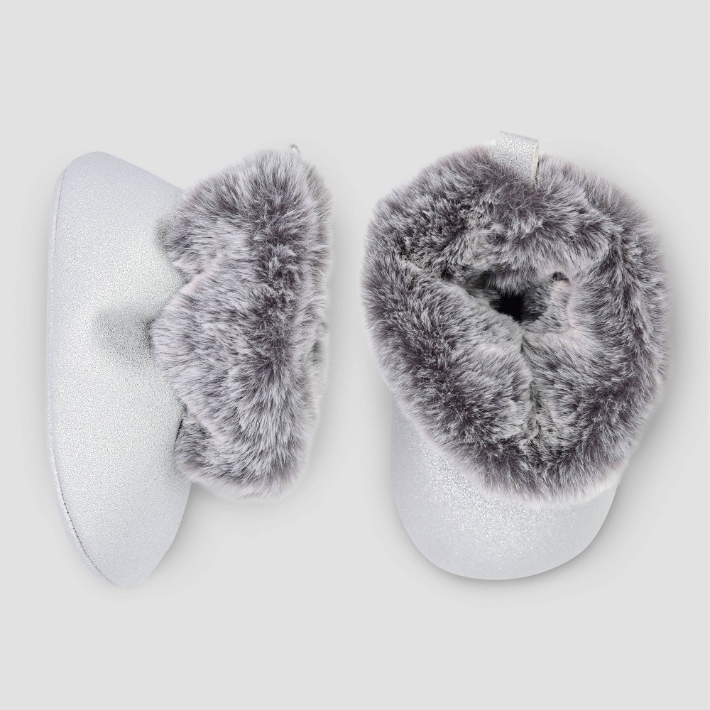Image of Baby Girls' Faux Fur Crib Boots - Just One You made by carter's Velvet 3-6M, Girl's, Size: Small, Gray