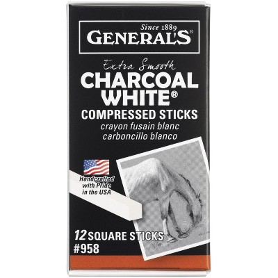 General's Non-Toxic Top Quality Charcoal Stick, 3 in, White, pk of 12