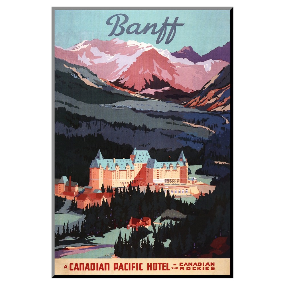 Banff, Alberta, Canada - Overview of the Banff Springs Hotel Poster by Lantern Press, Mounted Print, Blue