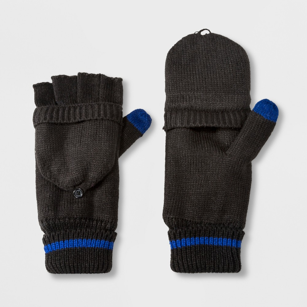 Image of Men's Fold Over Mitten With Fleece Lined Mitten Clips - Goodfellow & Co Black One Size