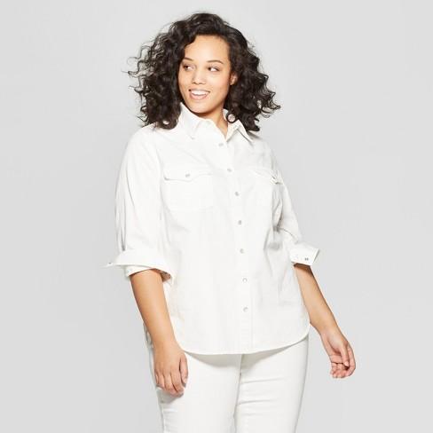 Women\'s Plus Size Long Sleeve Western Denim Shirt - Universal Thread ...