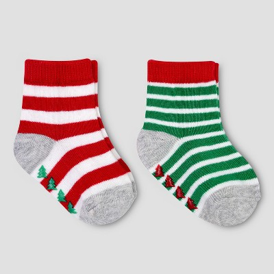 Baby's 2pk Christmas Crew Socks - Just One You® made by carter's Red/Green 0-6M