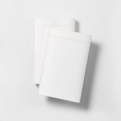 2pk Standard Linen Blend with Hem Stitch Pillowcase Set Fresh White - Hearth & Hand™ with Magnolia