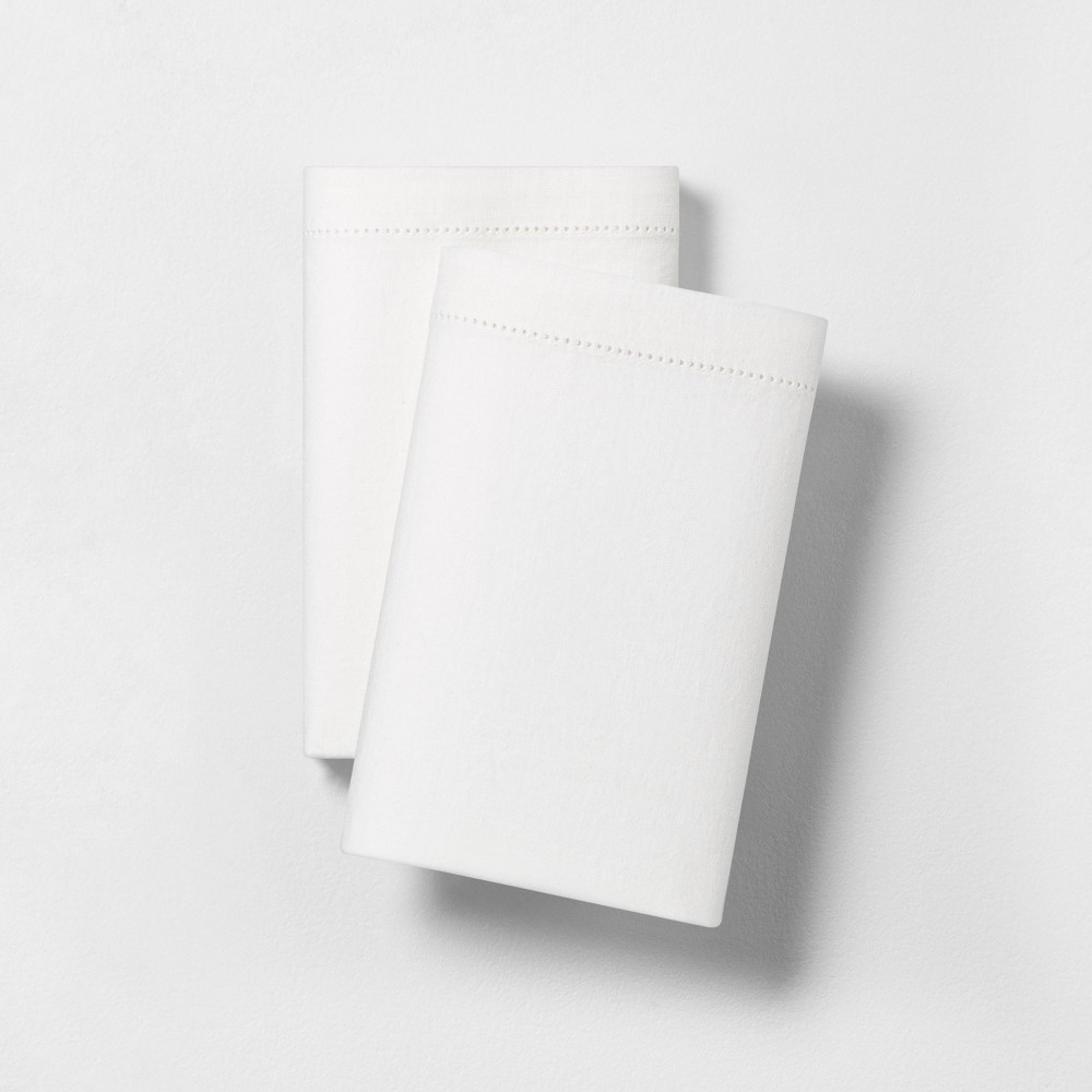 Image of 2pk King Solid Linen Blend Pillowcase - Fresh White - Hearth & Hand with Magnolia