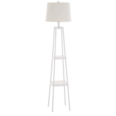 """58"""" Etagere Floor Lamp with Shelves with Linen Shade White - Cresswell Lighting"""