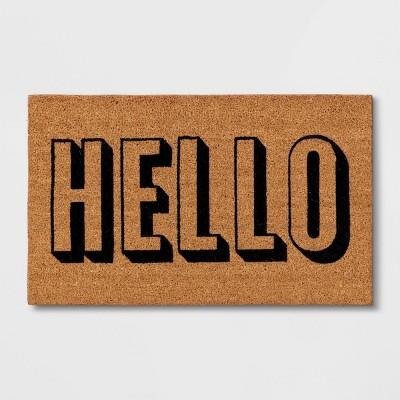 """1'6""""x2'6"""" Hello Doormat Black - Room Essentials™"""