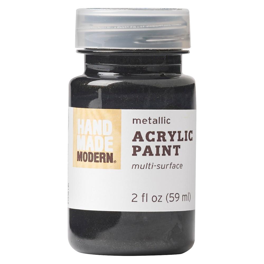 Hand Made Modern - 2oz Metallic Acrylic Paint - Coal (Grey)
