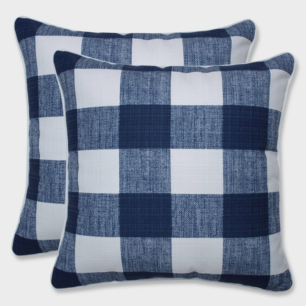 "Image of ""16.5"""" 2pk Anderson Zaffre Throw Pillows Blue - Pillow Perfect, Black"""
