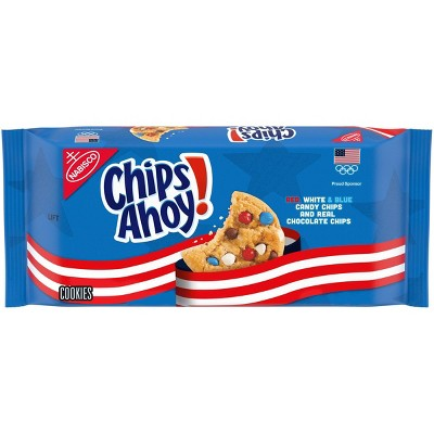 Team USA CHIPS AHOY! Chocolate Chip Cookies with Red, White and Blue Candy Chips, Limited Edition - 11.75oz