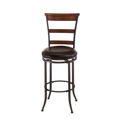 "Cameron Swivel Ladderback 26"" Counter Height Barstool Metal/Chestnut Brown - Hillsdale Furniture"