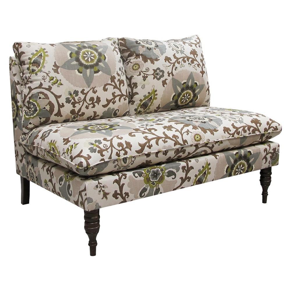 Skyline Custom Upholstered Armless Loveseat - Skyline Furniture, Silsilia Rhinestone