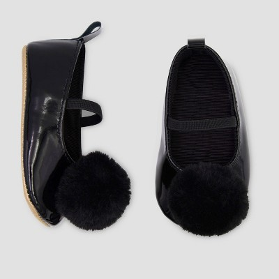 Baby Girls' Faux Fur Mary Jane Shoes - Just One You® made by carter's Black 0-3M