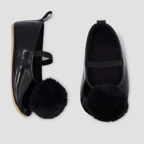 Baby Girls' Faux Fur Mary Jane Shoes - Just One You® made by carter's Black - image 1 of 1