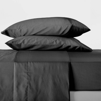 Queen 300 Thread Count Temperature Regulating Solid Sheet Set Washed Black - Casaluna™