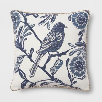 Bird Square Throw Pillow Blue - Threshold™