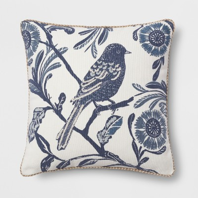 view Bird Square Throw Pillow Blue - Threshold on target.com. Opens in a new tab.