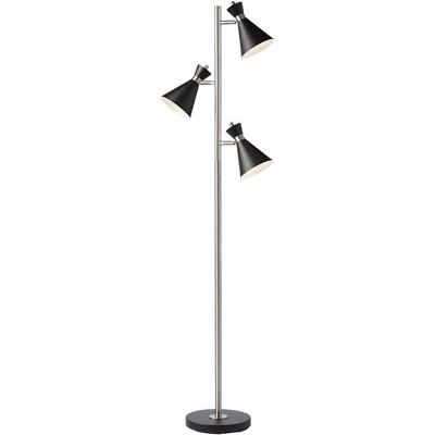 360 Lighting Modern Floor Lamp LED Brushed Steel and Black 3-Light Tree Adjustable Shades for Living Room Reading Bedroom Office