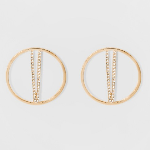SUGARFIX by BaubleBar Gold Hoop Studs with Crystal Earrings - Gold - image 1 of 3