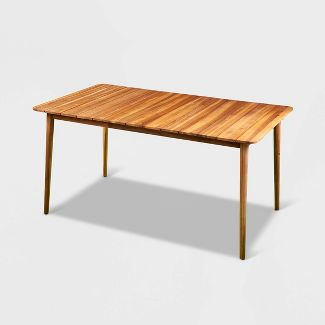 Austi Solid Acacia Patio Dining Table - Brown - Aiden Lane