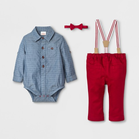 7168e4c63 Baby Boys' 2-Piece Jacquard Shirt, Bowtie And Pants With Suspenders - Cat &  Jack™ Denim/ Red : Target