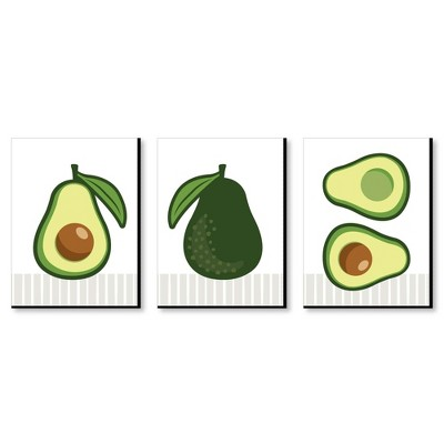Big Dot of Happiness Hello Avocado - Kitchen Wall Art and Restaurant Decorations - 7.5 x 10 inches - Set of 3 Prints