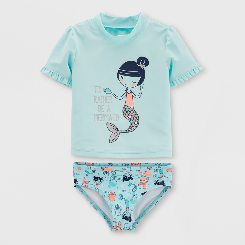 Toddler Girls' 2pc Short Sleeve Mermaid Rash Guard Set - Just One You made by carter's Blue 2T