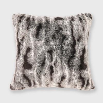 """18""""x18"""" Faux Rabbit Fur Ombre Throw Pillow - EVERGRACE"""