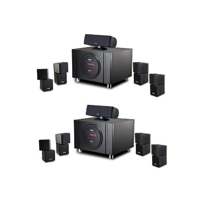 Pyle 2 x PT589BT Bluetooth 5.1 Channel 300 Watt Home Theater System Surround Sound Speakers with Built In Subwoofer and Remote Control, Black (2 Pack)