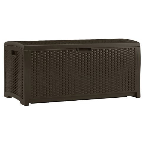 Resin Wicker Deck Box 73 Gallon Brown Suncast