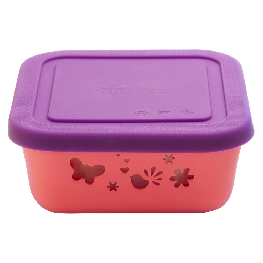 Image of Brinware Garden Party Glass and Silicone Food Container, Bubble Gum