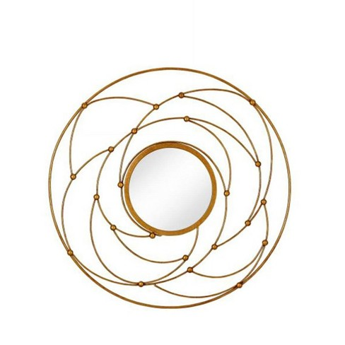 Majestic Mirror Round Contemporary Gold Leaf Metal Decorative Accent Mirror - image 1 of 4